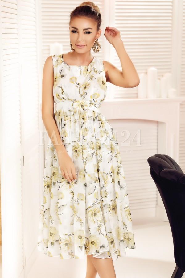 Rochie Talia alba cu imprimeuri