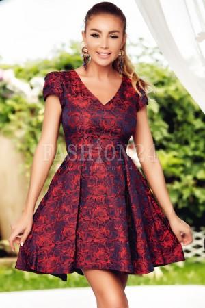 Rochie Diana rosu bleumarin in clos
