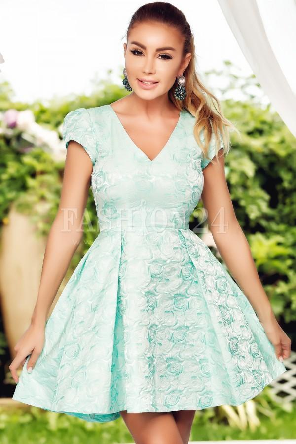 Rochie Diana rosu turcoaz in clos