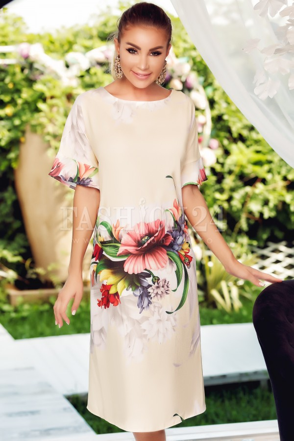 Rochie De Vara Galbena Cu Imprimeu Floral