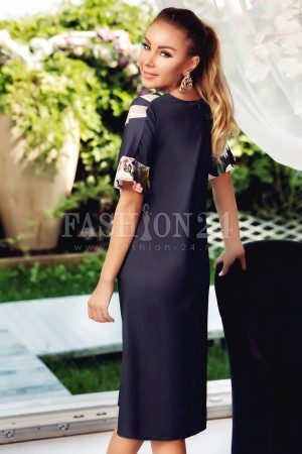 Rochie de vara neagra cu imprimeu floral