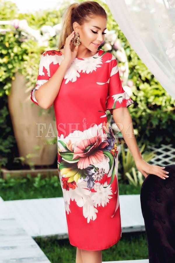 Rochie de vara rosie cu imprimeu floral