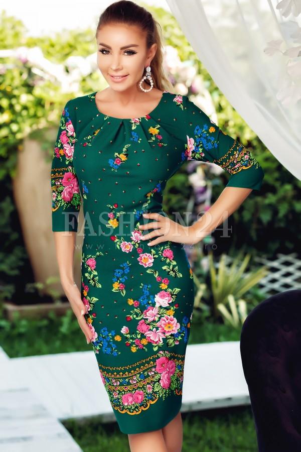 Rochie verde midi traditionala