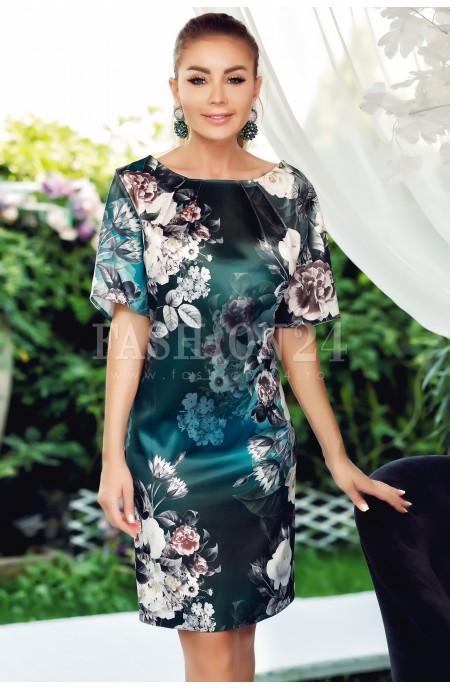 Rochie Selena verde cu imprimeuri