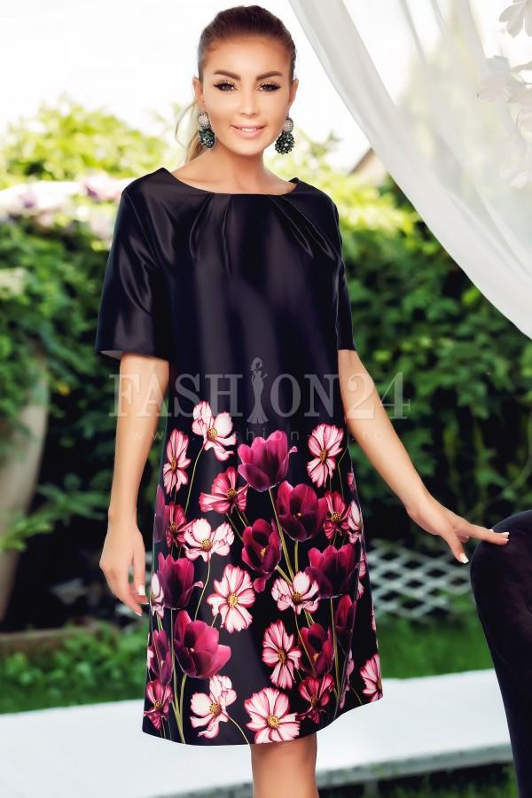Rochie Selena negru mov cu imprimeuri