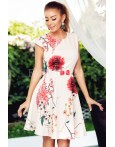 Rochie de vara eleganta cu imprimeuri florale rosii