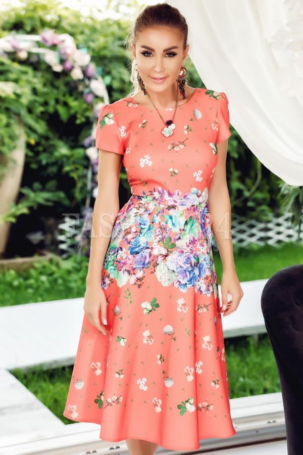 Rochie Lia corai cu imprimeuri