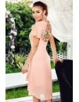 Rochie roze cu dantela si aplicatii