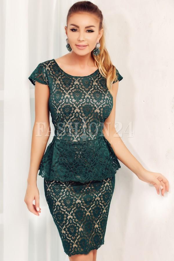 Rochie Kendra verde din dantela cu peplum