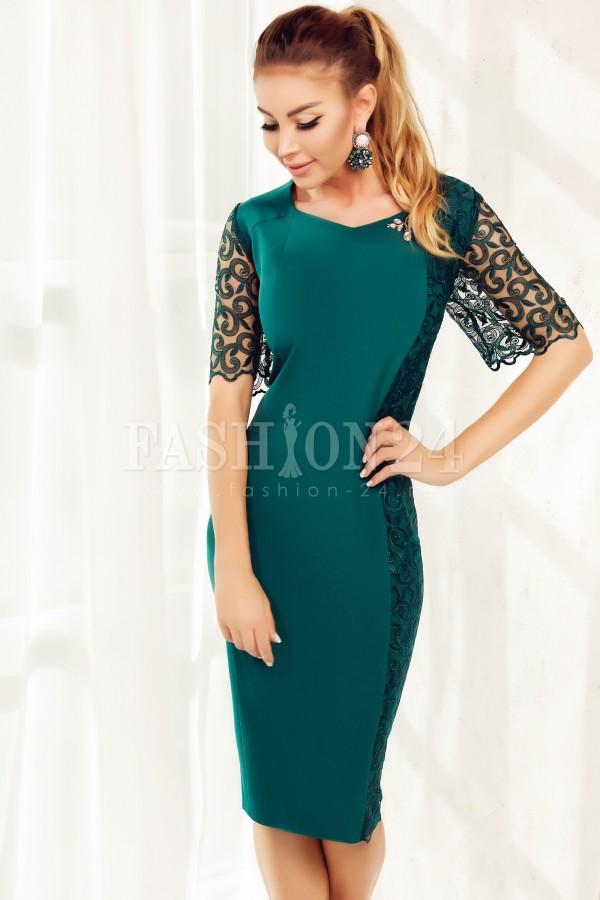 Rochie midi Lorelei verde cu manecile din dantela