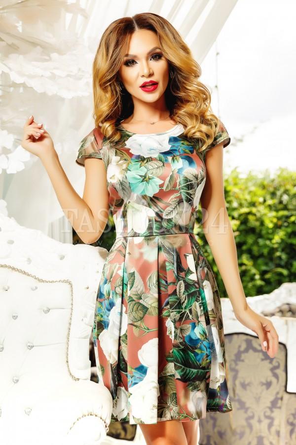 Rochie Simone verde cu imprimeuri