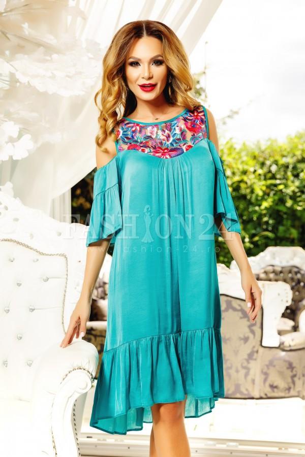 Rochie Eleganta De Seara Turcoaz Cu Broderie Multicolora Fashion24