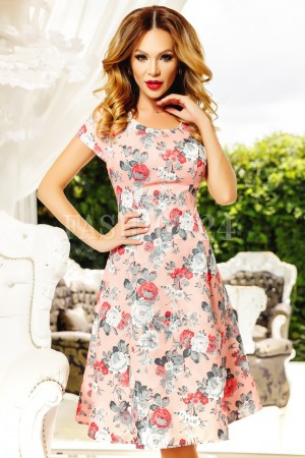 Rochie Lara roz cu imprimeuri