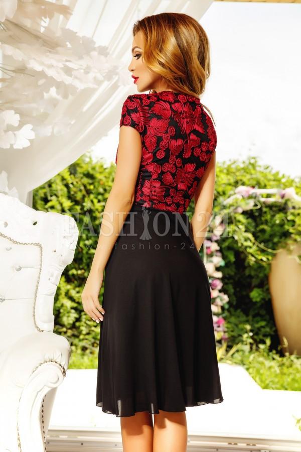 Rochie Amaris negru rosu cu broderie