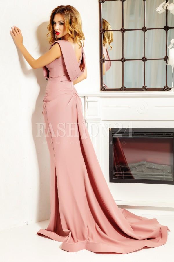 Rochie lunga Iris roz cu trena