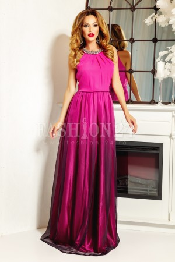 Rochie lunga Annabelle roz
