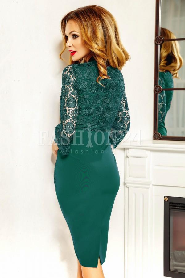 Rochie midi Aria verde cu dantela