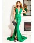 Rochie lunga Iris verde cu trena