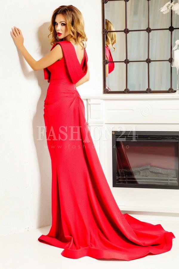 Rochie lunga Iris rosie cu trena