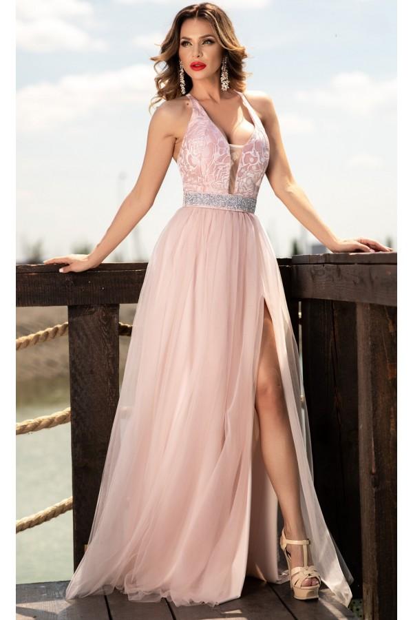 Rochie lunga Anastasia roz