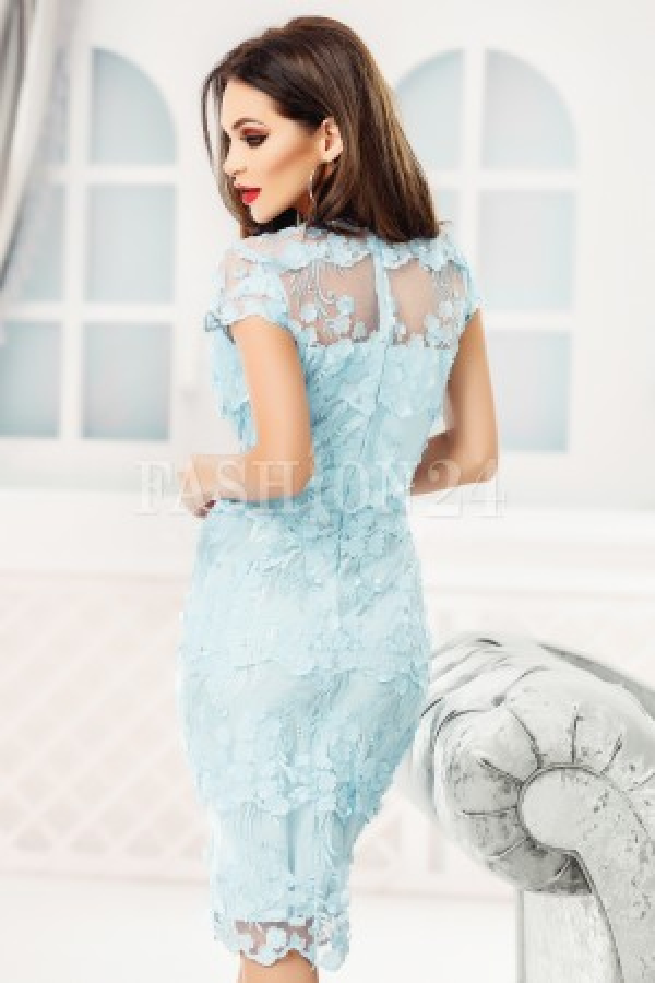 Rochie Juliette azur dantela aplicata