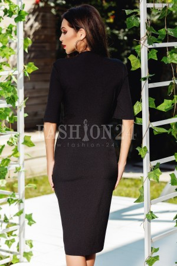 Rochie Izabelle neagra cu dantela aplicata in talie