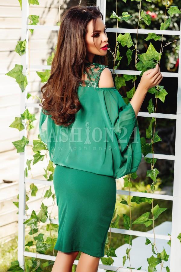 Rochie Natalie verde cu voal
