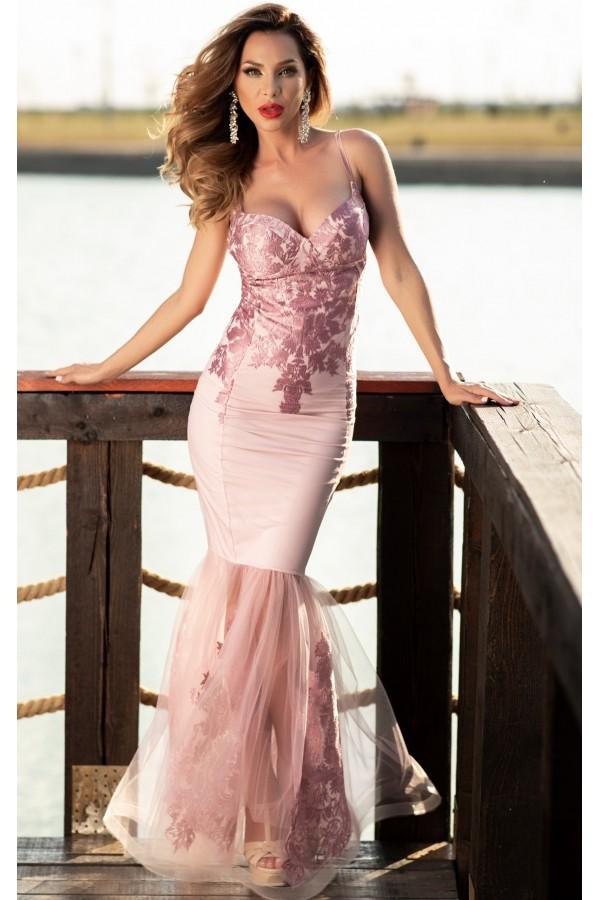 Rochie Anisia roz croi sirena
