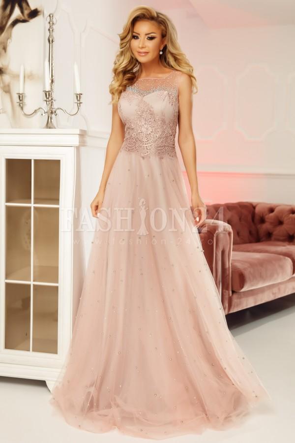 Rochie lunga Adeline roz
