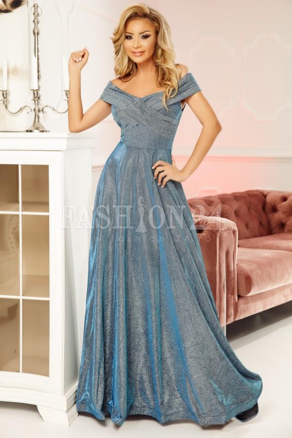 Rochie lunga de seara Julia bleu argintiu