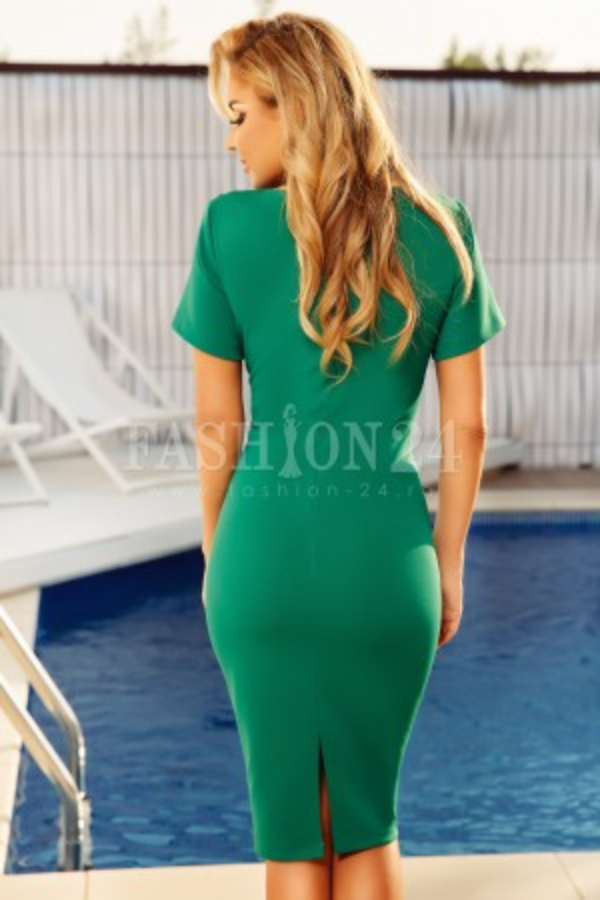 Rochie midi Olivia verde cu dantela