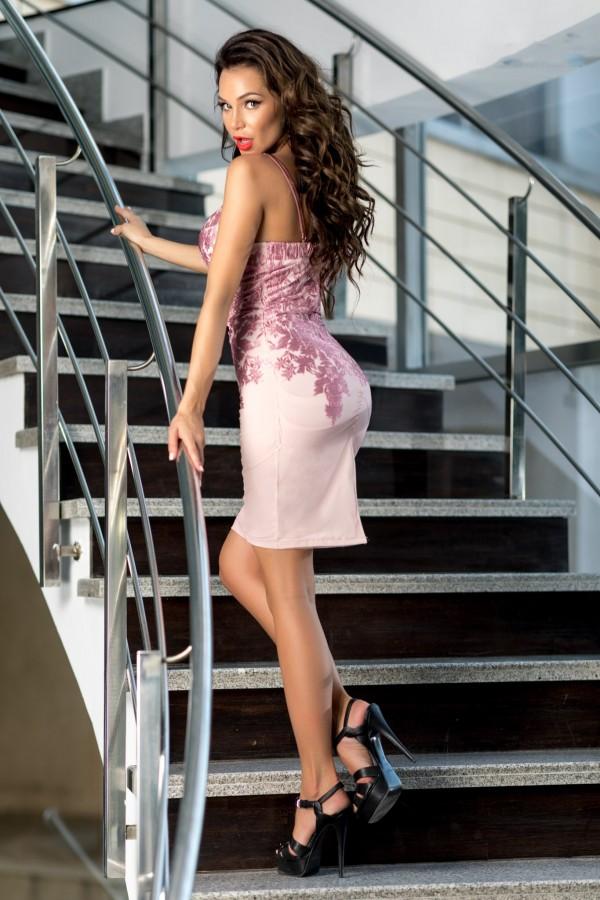 Rochie scurta de seara Adelle roz