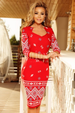 Rochie in stil traditional Elena rosie