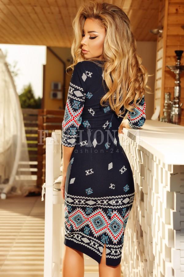 Rochie in stil traditional Elena bleumarin