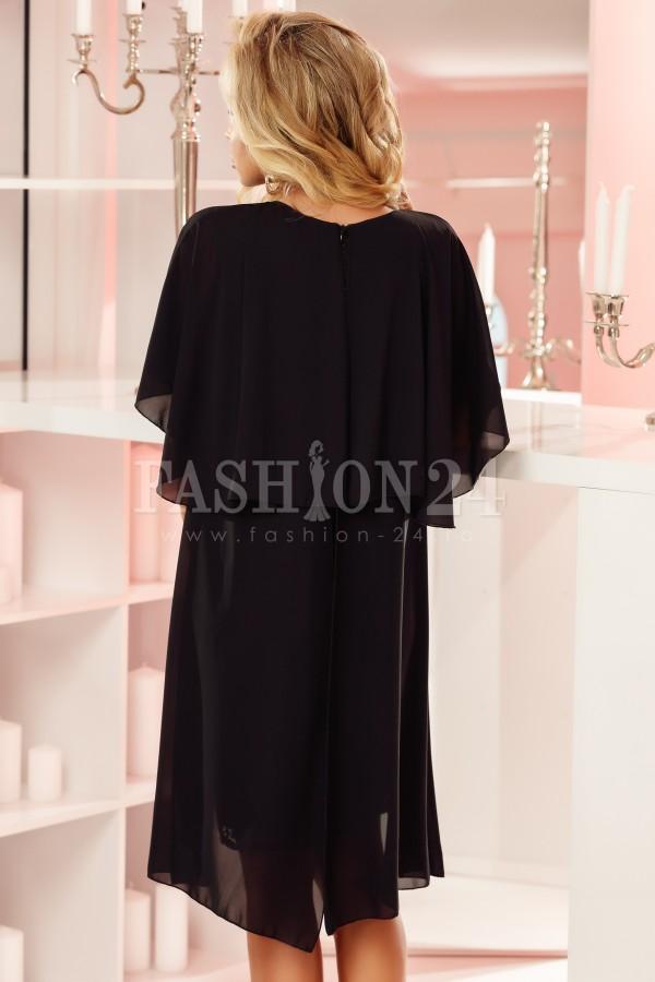 Rochie neagra cu voal aplicat