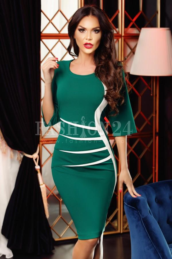 Rochie eleganta Jolie verde alb