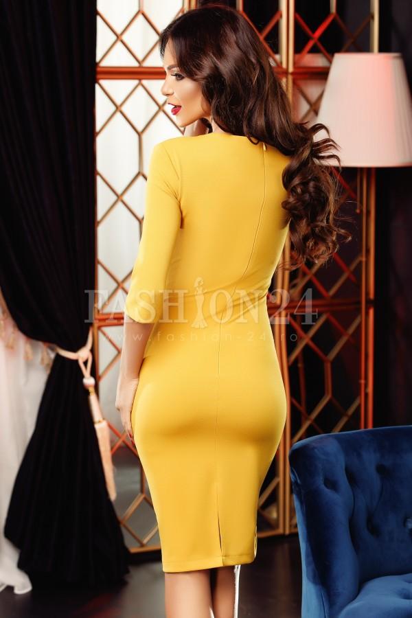 Rochie eleganta Jolie mustar si negru