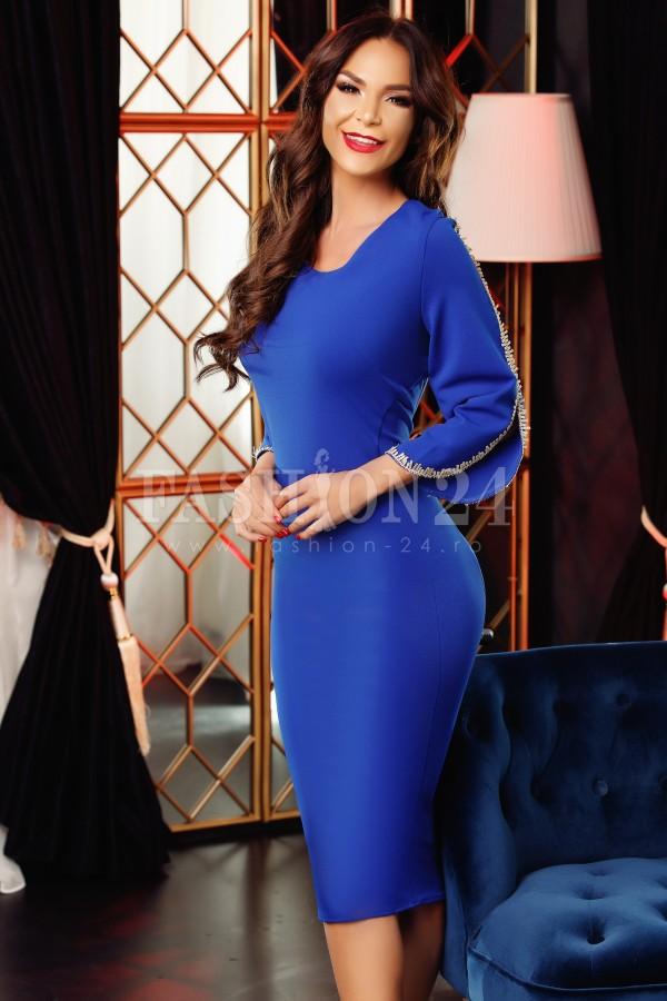 Rochie midi Emma albastra cu manecile decupate