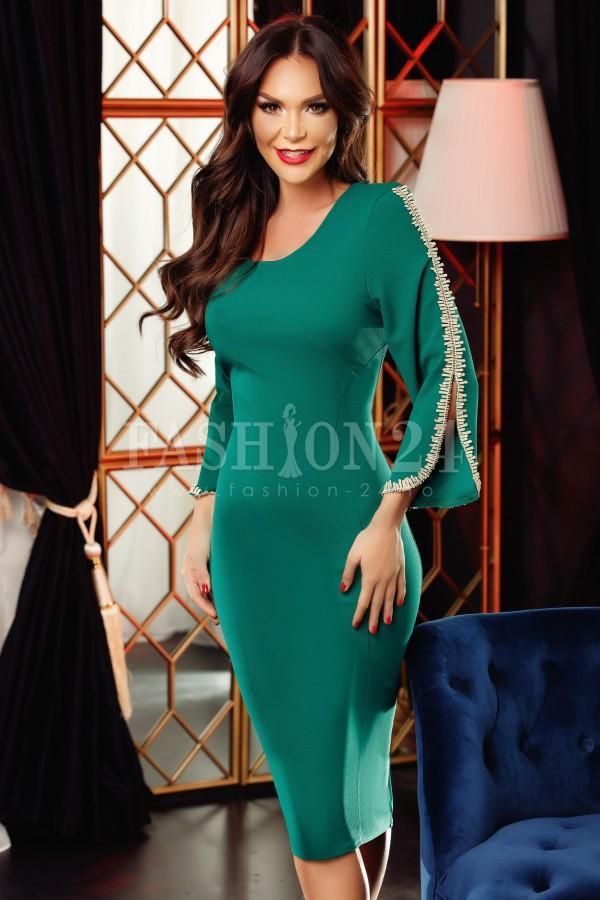 Rochie midi Emma verde cu manecile decupate