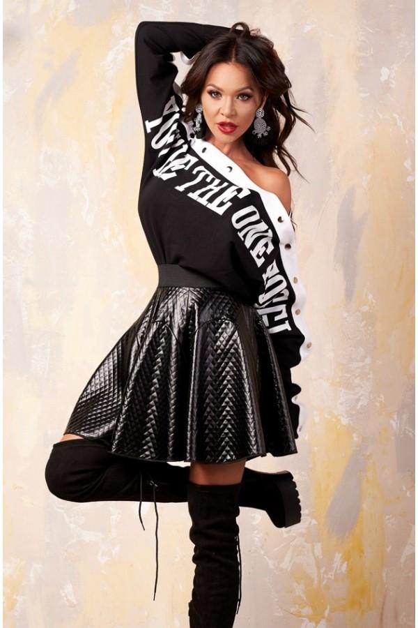 Magazin Online Haine - Compleu Alecia negru din bluza si fusta -Fashion-4u.Eu
