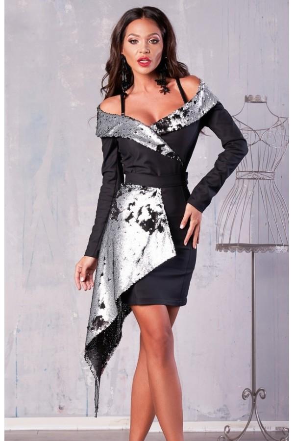 Rochie neagra cu trena din paiete in doua culori