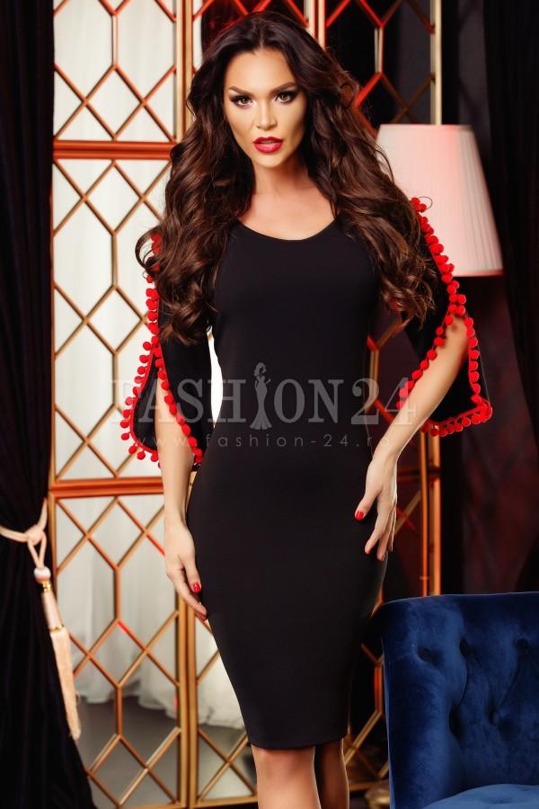 Rochie Hanna negru rosu cu manecile decupate