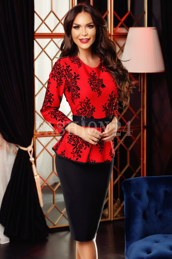 Rochie Reyna rosie cu dantela aplicata