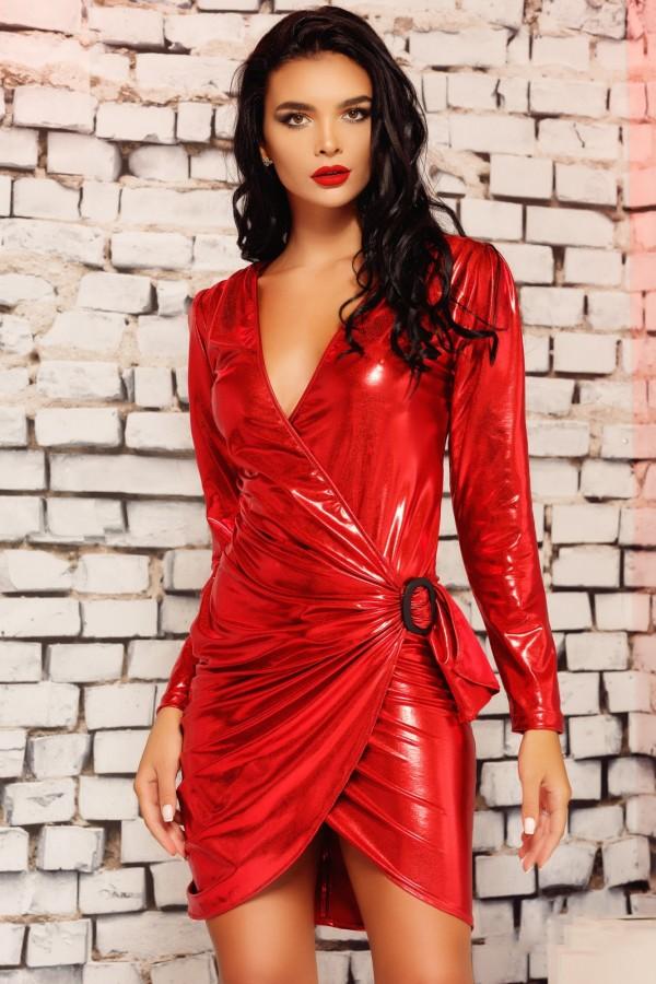 Rochie midi Aida rosie din piele ecologica