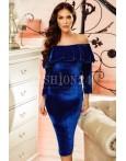 Rochie din catifea Lisa albastra