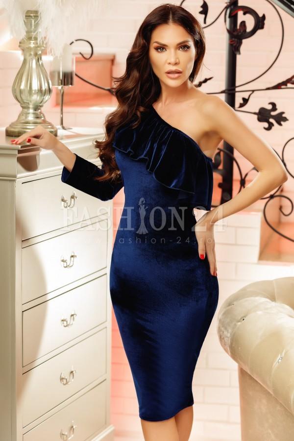 Rochie din catifea Sandra bleumarin cu o maneca