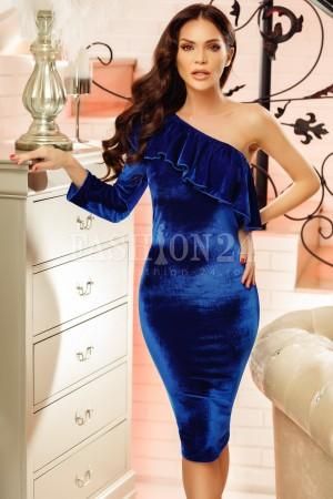 Rochie din catifea Sandra albastru electric cu o maneca