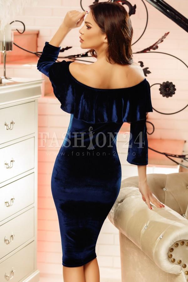 Rochie din catifea Lisa bleumarin
