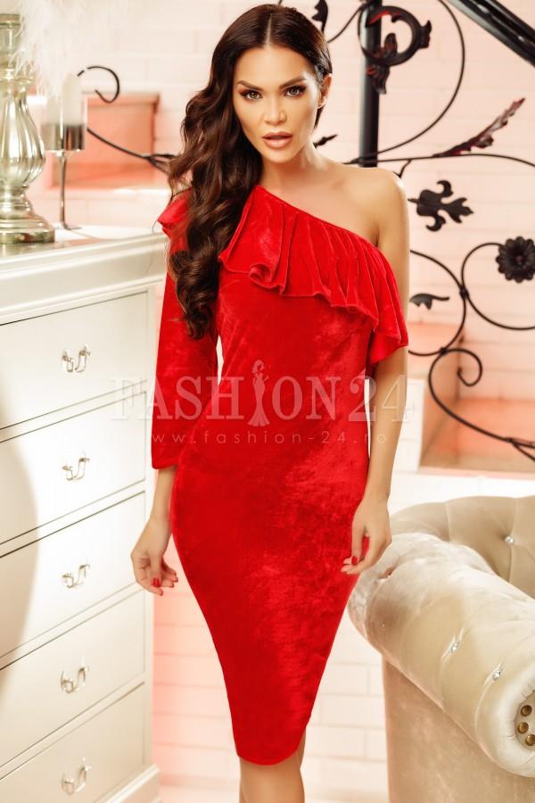 Rochie din catifea Sandra rosie cu o maneca