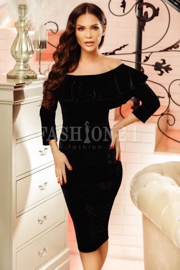 Rochie din catifea Lisa neagra